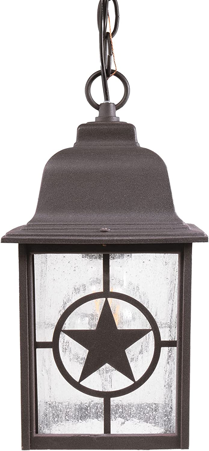 CORAMDEO Country Star Outdoor Farmhouse Pendant Light for Patios, Porches, and More, E26 Standard Socket, Suitable for Damp Location, Rust Finished Cast Aluminum with Seedy Glass
