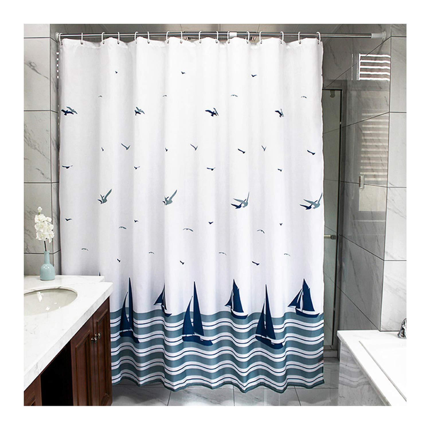 Ufatansy Beach Theme Boat Print Shower Curtain No More Mildews And Waterproof White Navy Blue Bathroom Durable Polyester With Hooks