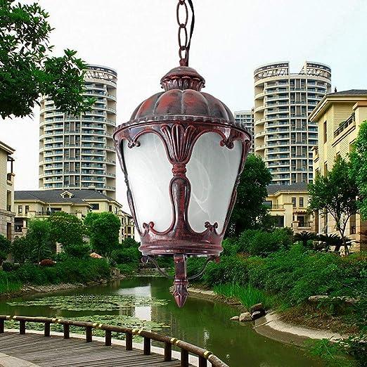 LI Xiang Luz Pendiente lámpara Antigua Impermeable al Aire Libre Patio Jardín de Cristal Linterna E27 Open Air Balcón luz de Techo de la decoración del Pasillo del ...