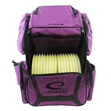 2c8e972299 Amazon.com   Latitude 64 Golf Discs DG Luxury E3 Backpack Disc Golf Bag -  Purple Black   Sports   Outdoors