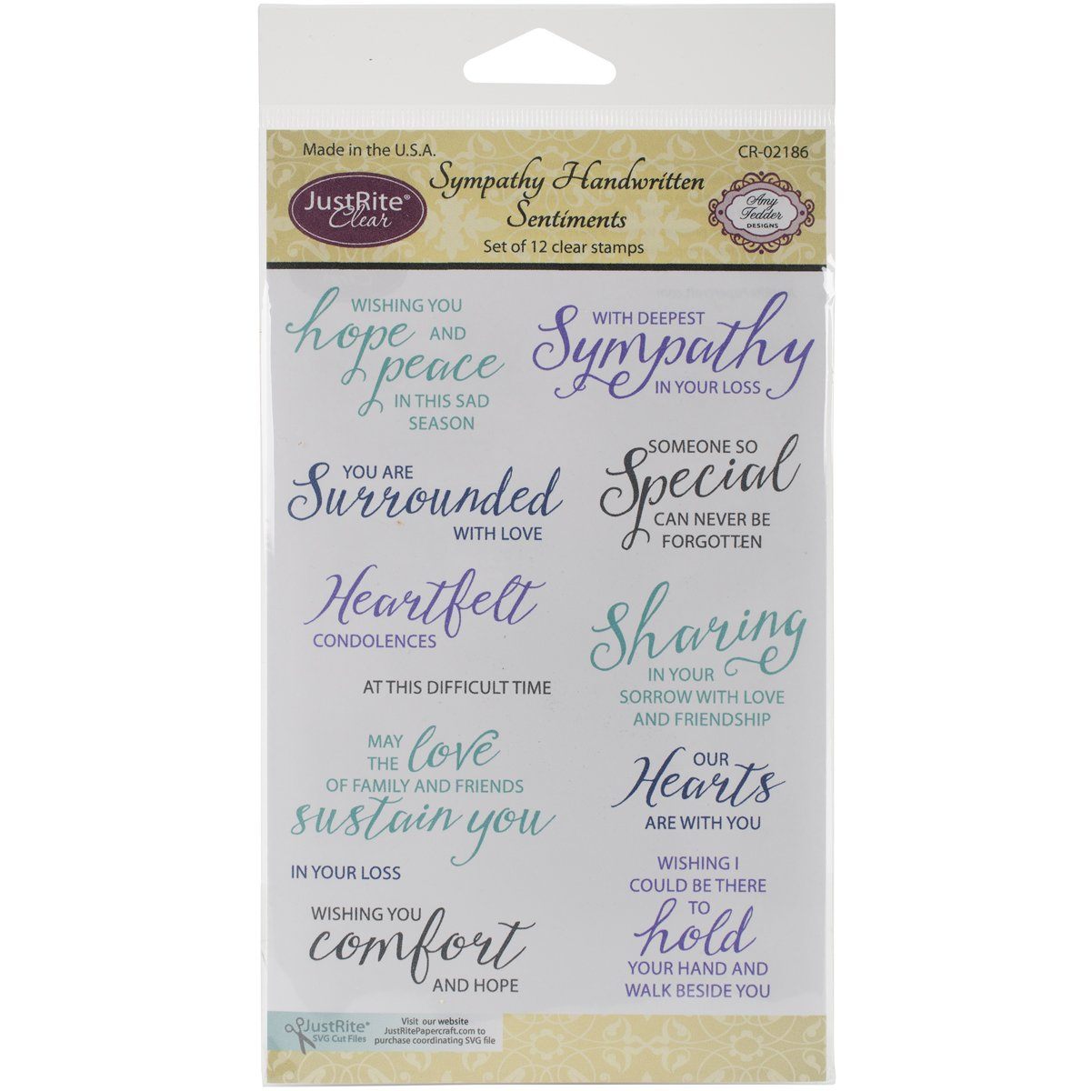 Justrite Papercraft CR02186 Sympathy Handwritten Sentiments Clear Stamp Set, 4 x 6 4 x 6