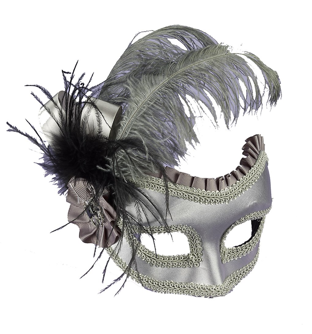 Adult Venetian Silver Satin Feathered Half Mask on Glasses Mask