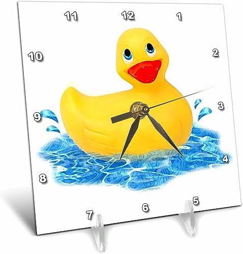 3dRose Rubber Duck Desk Clock, 6 by 6-Inch