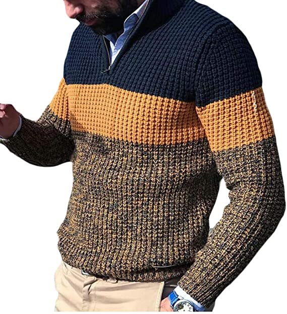 H&E suéter Tipo Polo de Manga Larga con Cremallera para Hombre ...