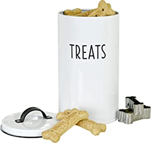 Outshine White Farmhouse Cat and Dog Treat Container with 2 Dog Bone Cookie Cutters | Cute Pet Food Container with Lid | Durable Airtight Dog Food Storage Container | Gift for Dogs and Dog Owners