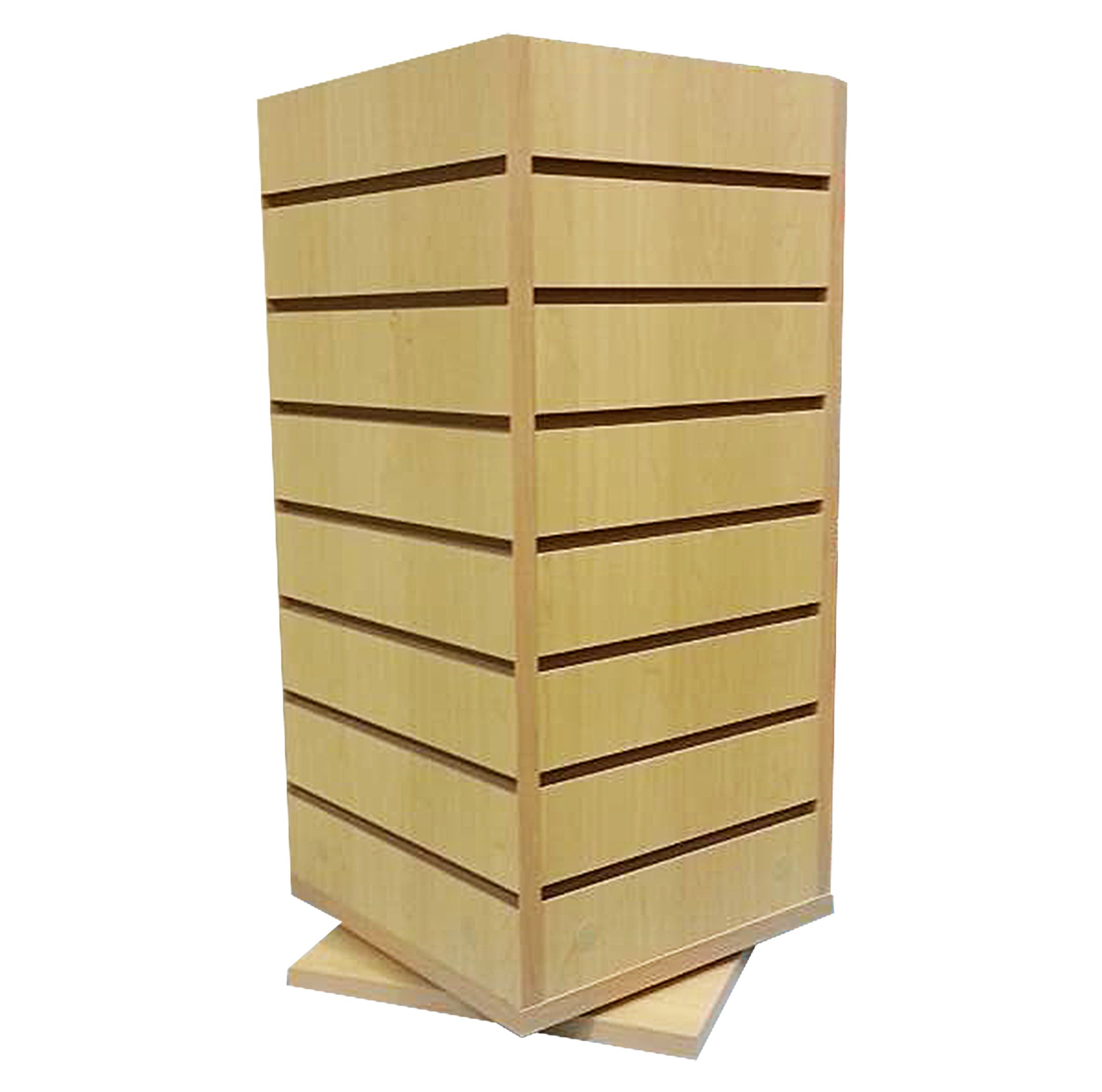 AMKO WD4S-CT Slatwall Merchandiser, 4-Sided Counterop Spinner, Maple