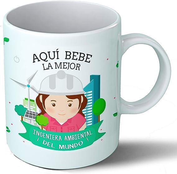 Planetacase Taza Desayuno Aquí Bebe la Mejor ingeniera Ambiental del Mundo Regalo Original Ingenieros Ceramica 330 ...