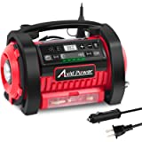 Tire Inflator, 12V DC / 110V AC Dual Power Tire Pump Air Compressor with Inflation and Deflation Modes, Dual Powerful…