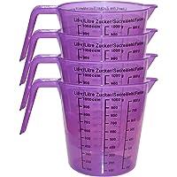 Jarras medidoras plastico (4 Pcs) 13cm - Plástico Libre de BPA para Medir Liquido, Aceite y Artículos de Hornear - Jarra son Litro (100-1000ccm) Azúcar (100-1000g) Harina (100-800g)