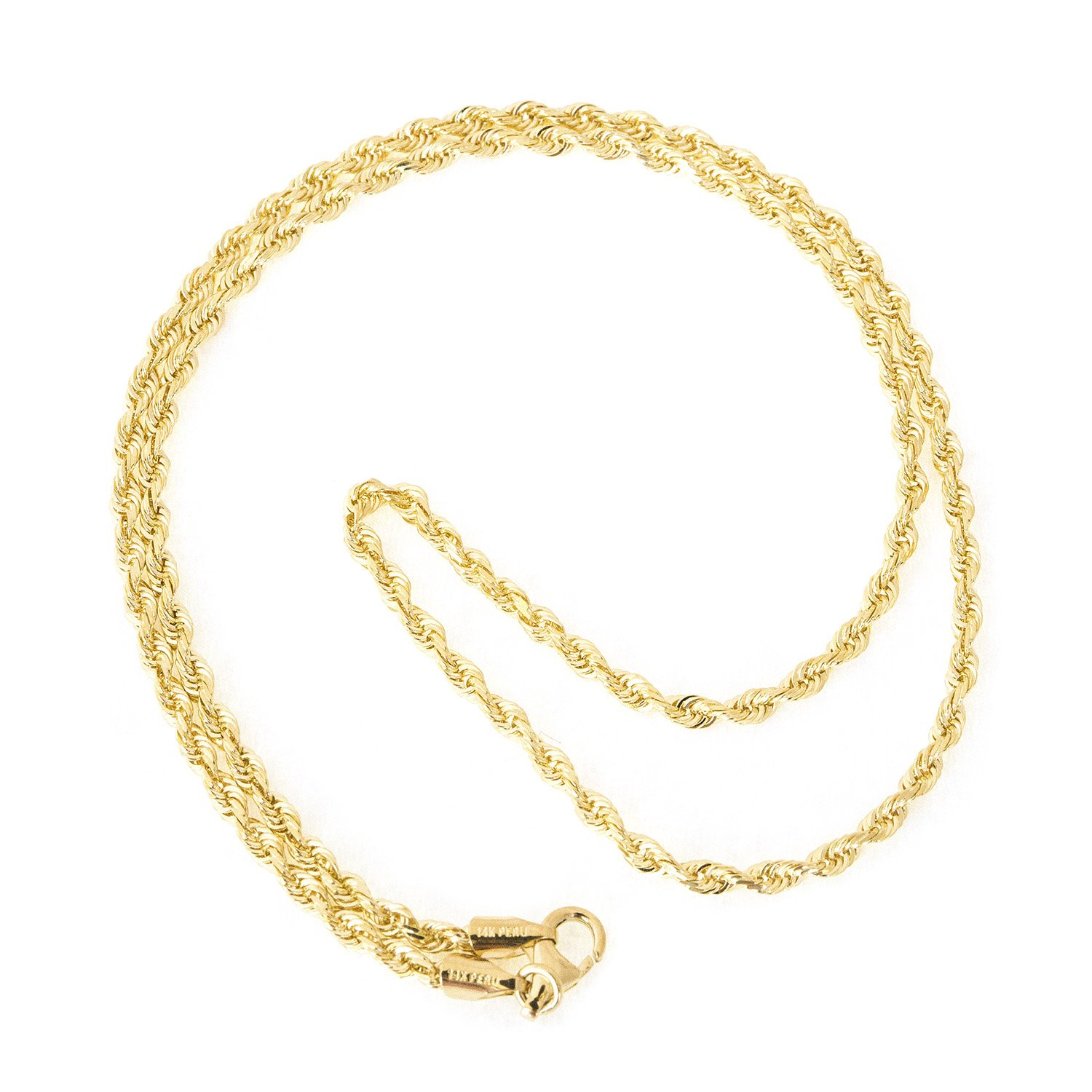 Beauniq 14k Yellow Gold 2.75mm Solid Diamond-Cut Royal Rope Chain Necklace, 22''