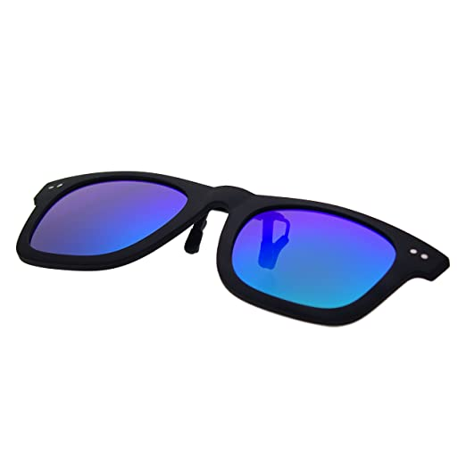 48a52a0875 Amazon.com  Zacway Matte Rubber Finish Polarized Horn Rimmed Clip-on Sunglasses  Color Mirror Lens UV400 50mm (Matte Black Mirror Blue Green