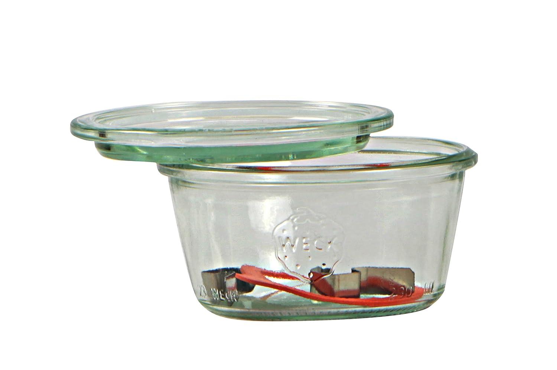 Weck Vasetto 290 ml con Coperchio da 100 mm, Completi di Guarnizione e Clips, Scatola da 6 Pezzi, Vetro, Trasparente 3286200 barattoli; coperchi
