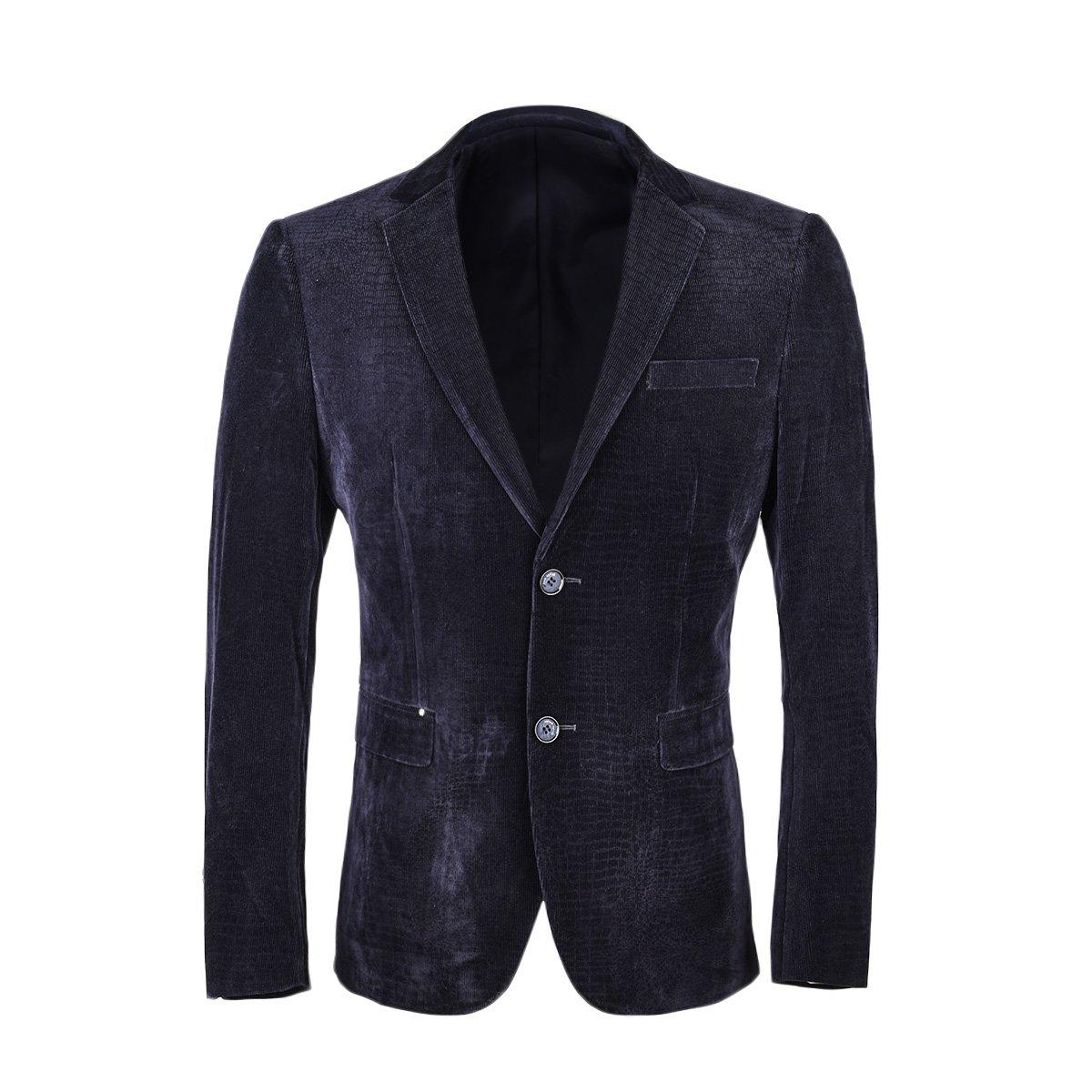 VOBOOM Men's Suit Coat Two Button Casual Sport Coat Slim Fit Blazers Corduroy Jacket BDXZ9816-Navy-S