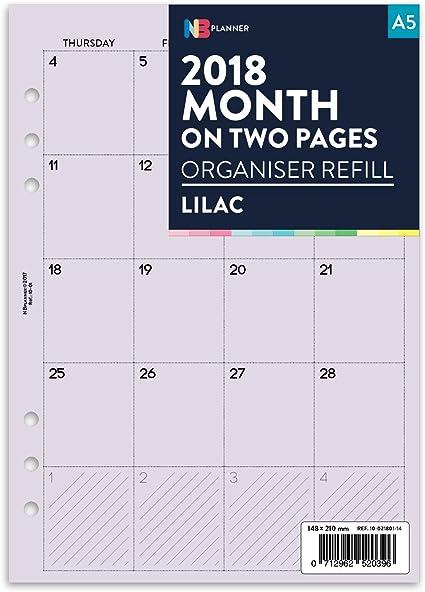 Calendario planificador para 2018, mensual, dos páginas que se ...