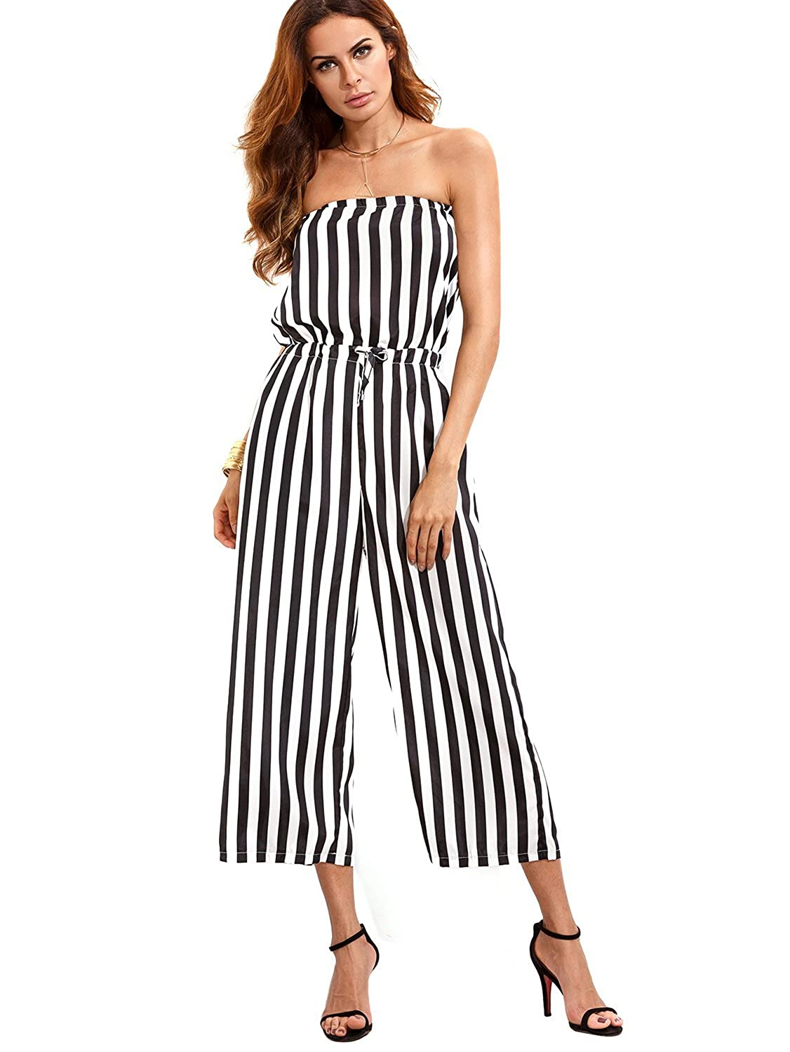 82d1bc42f5c Amazon.com  Code Women Strapless Jumpsuits Off Shoulder Cute Striped Wide  Leg Backless Summer Jumpsuits  Clothing