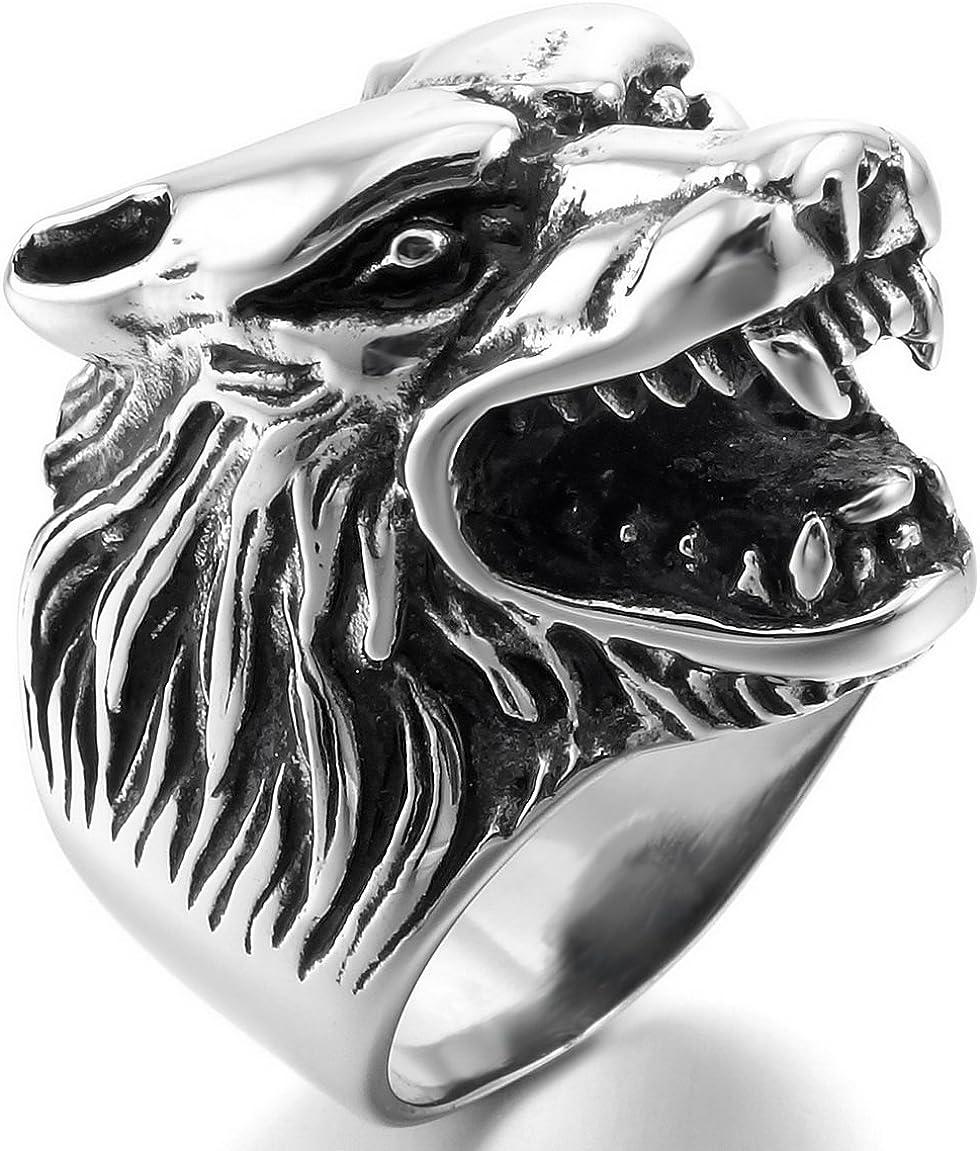 INBLUE Men's Stainless Steel Ring Silver Tone Black Wolf Head