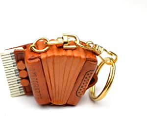 Accordion Music/Instrument 3D Leather Keychain(L) VANCA CRAFT-Collectible Keyring Charm Pendant Made in Japan