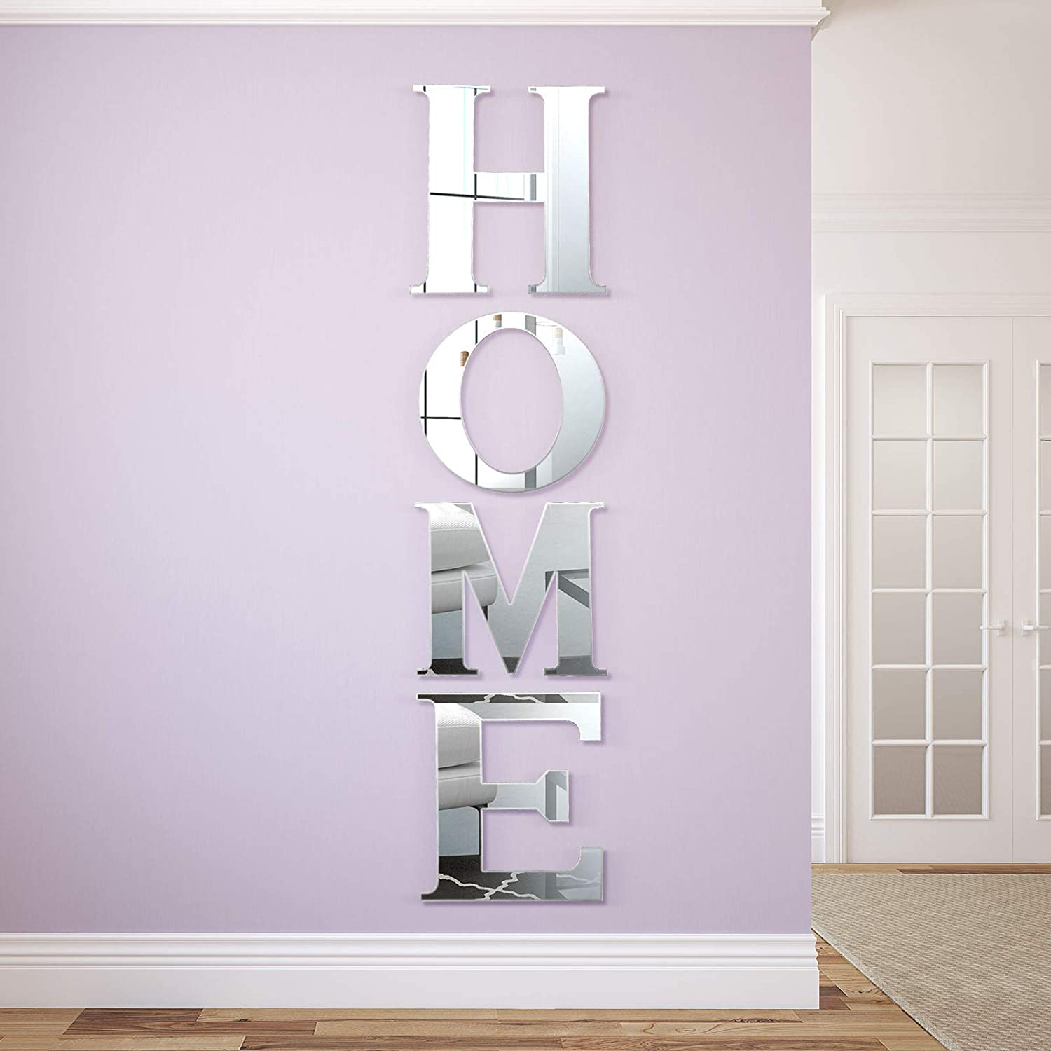 Coneedy 4 Pieces Acrylic Home Sign Letters Family Farmhouse Wall Decor Acrylic Decorative Mirror Wall Stickers for Living Room Bedroom Kitchen Home Modern Decorations, 11 x 10 Inch (Silver)
