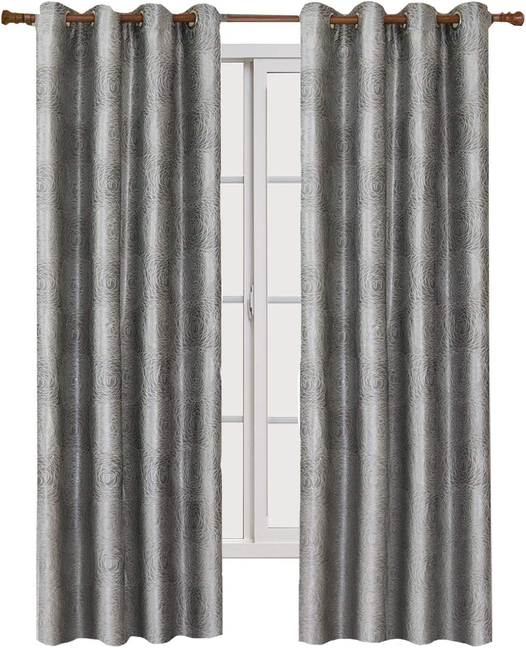 Wholesale Beddings Lexington 104-Inch Wide x 84-Inch Long, Set of 2, Jacquard Grommet Window Curtains, Silver