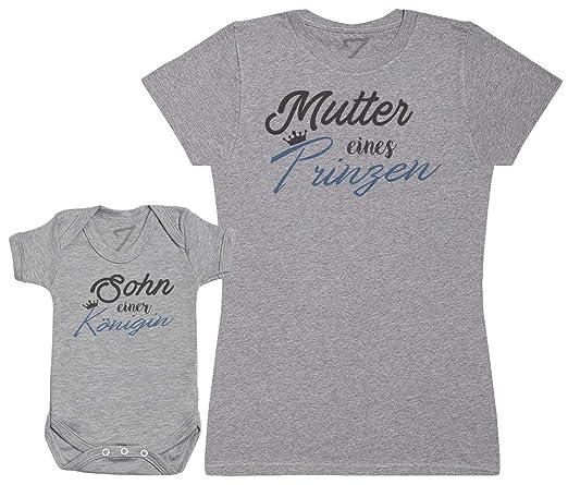 Zarlivia Clothing Mutter eines Prinzen/Sohn Einer Königin - Passende Mutter Baby Geschenk Set - Damen T-Shirt & Baby Strample