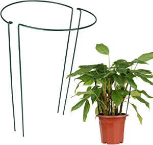 ZAILHWK Plant Support Garden Stakes ,Plant Support Ring,Semi-Circular Support Wire Hoop Plant Support Half Round Plant Support for Plant Flower,Set of 2