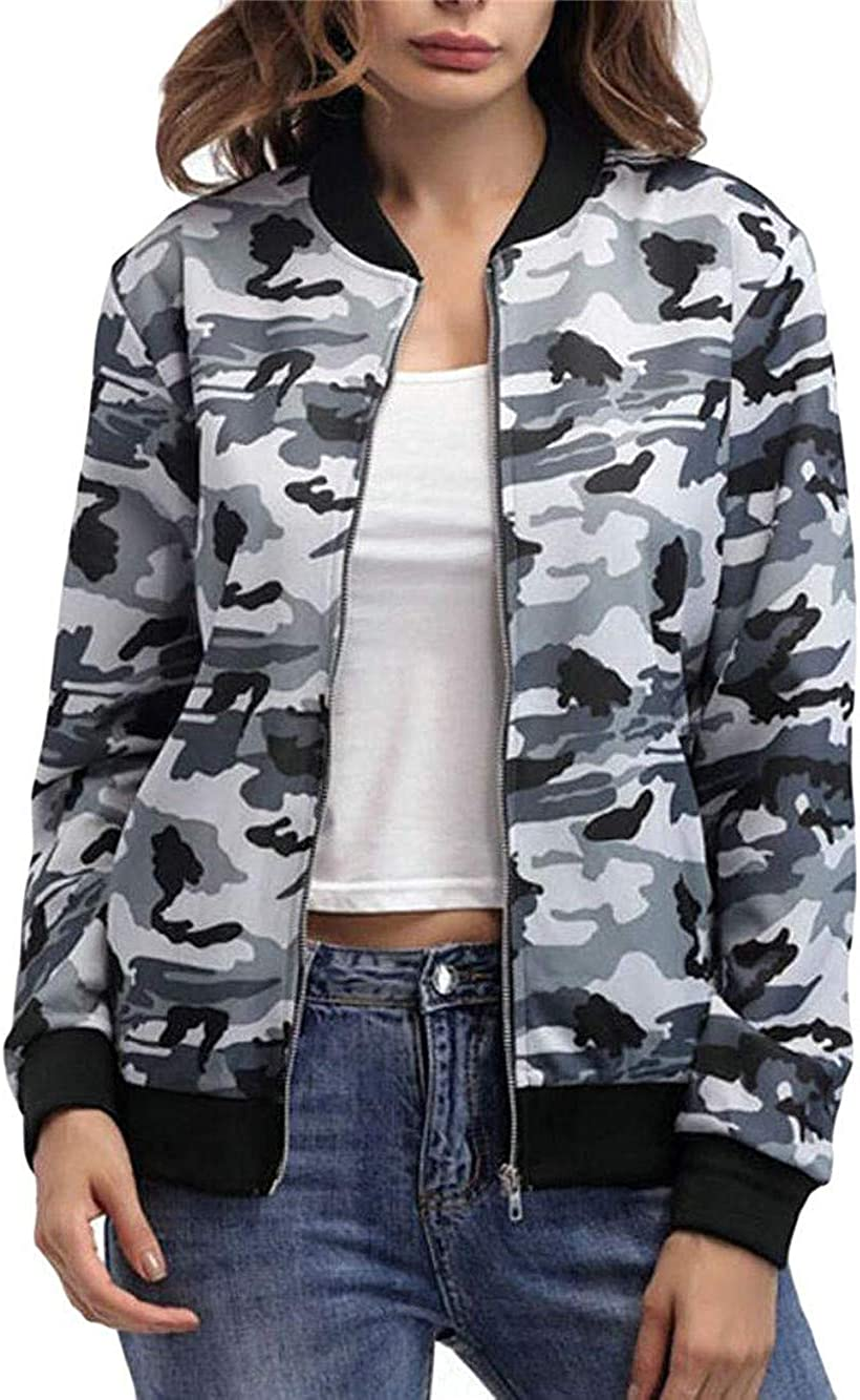 Byhgdnj Women Clothes Womens Quilted Camouflage Baseball Pockets Zip-up Outdoor Bomber Jacket