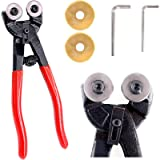 Swpeet 5Pcs Heavy Duty Glass Mosaic Cutter Kit, 8 Inch Wheeled Glass Nipper Pliers Tool with 2Pcs Replacement Blade and…