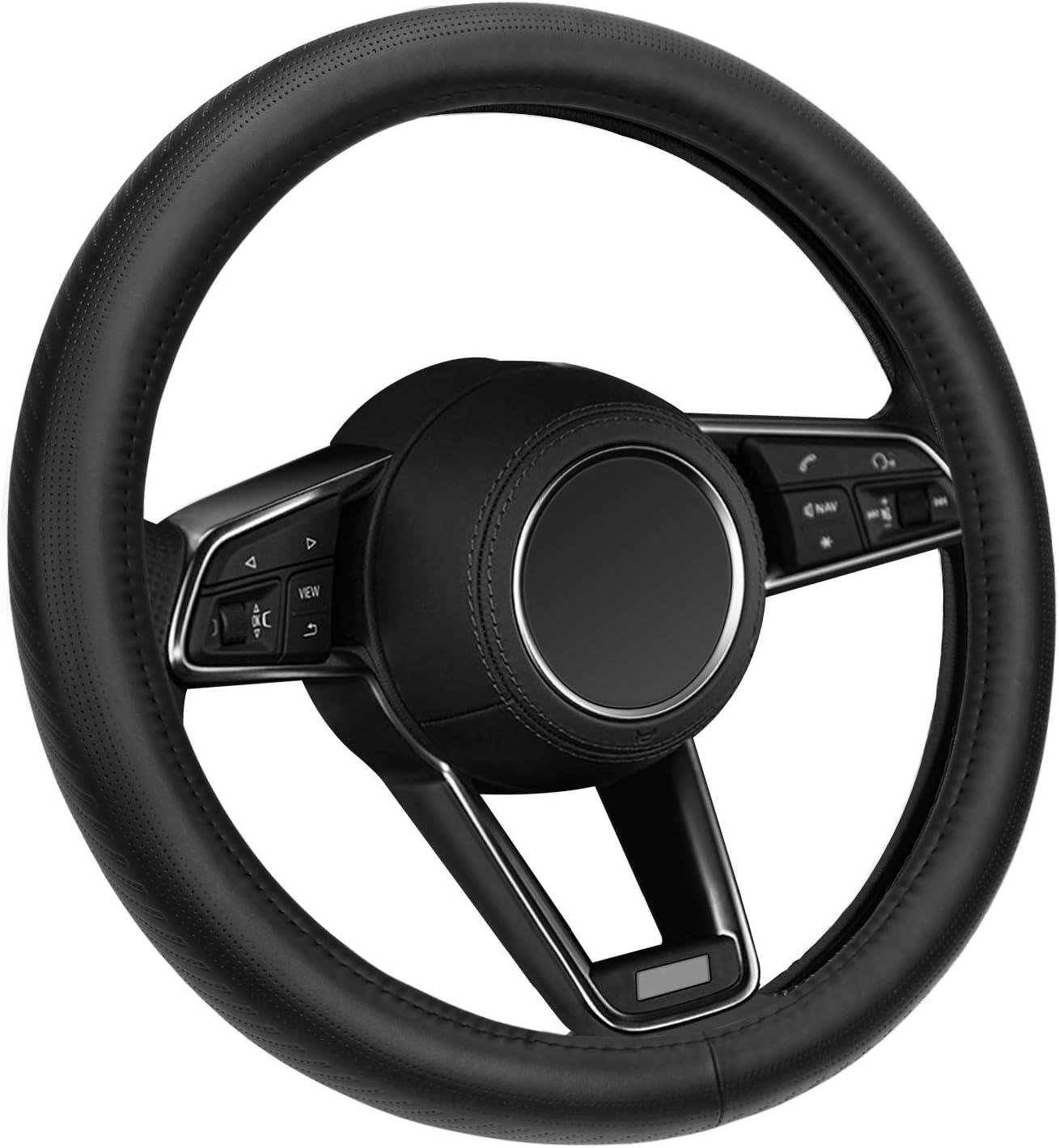 Elzo Cubierta de Volante de Coche Universal de 14.5-15 Pulgadas Con Cuero Genuino Negro Para Crv Hrv Accord Corolla Prius Rav4 Tacoma Camry, etc.