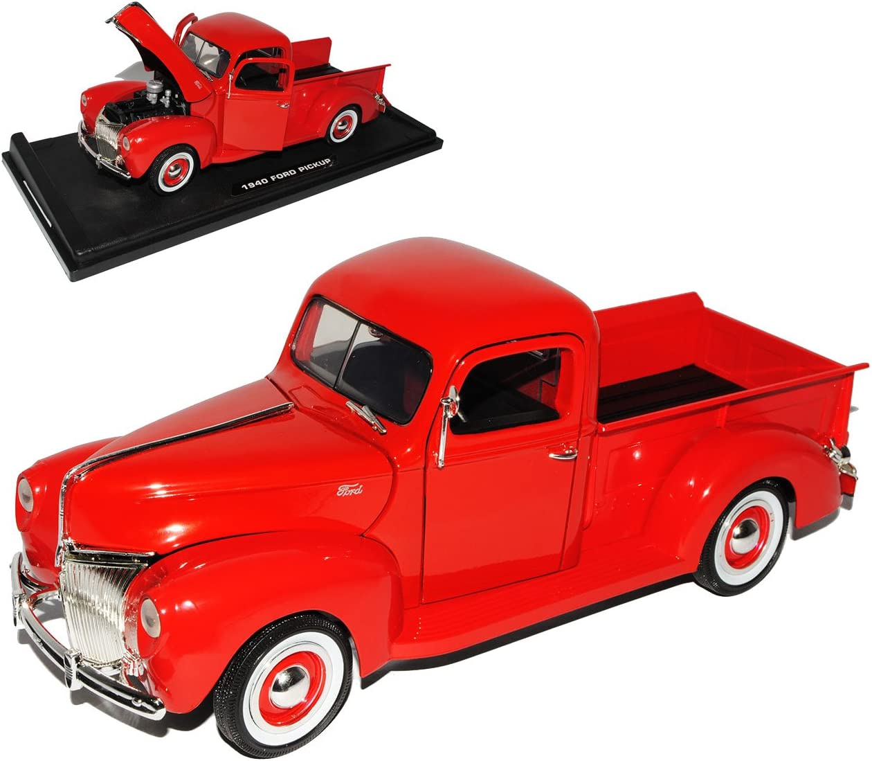 Ford Pickup 1940 Rot 1//18 Motormax Modell Auto mit oder ohne individiuellem Wuns