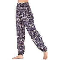 Mujer Hippie Algodón Tailandeses Pantalon Harem Cintura Alta