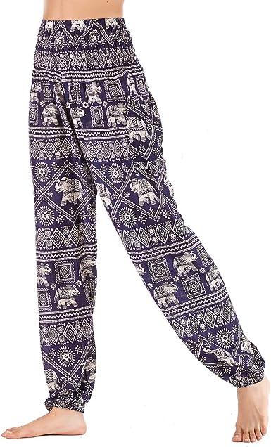 Nuofengkudu Mujer Hippie Algodón Tailandeses Pantalon Harem Cintura Alta Boho Vintage Patrones Indio Baggy Fisherman Yoga Pants Pijama Verano Playa(Azul Elefante,Talla única): Amazon.es: Ropa y accesorios