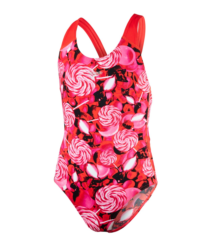 Speedo costume da bambina, modello Astro Fizz Splashback, ragazza, Astro Fizz Allover Splashback, Lava Red/Electric Pink/Black, 24 8-07386B482