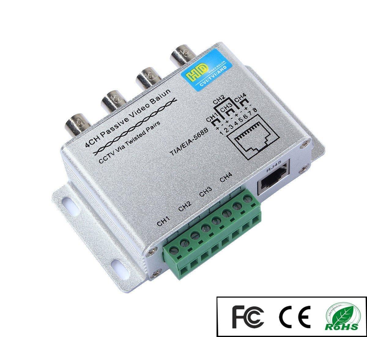OdiySurveil(TM) 4 Channel Aluminium Alloy Shell Passive HD-CVI/TVI/AHD CCTV Camera Transceiver,BNC RJ45 UTP Video Balun,720P/1080P