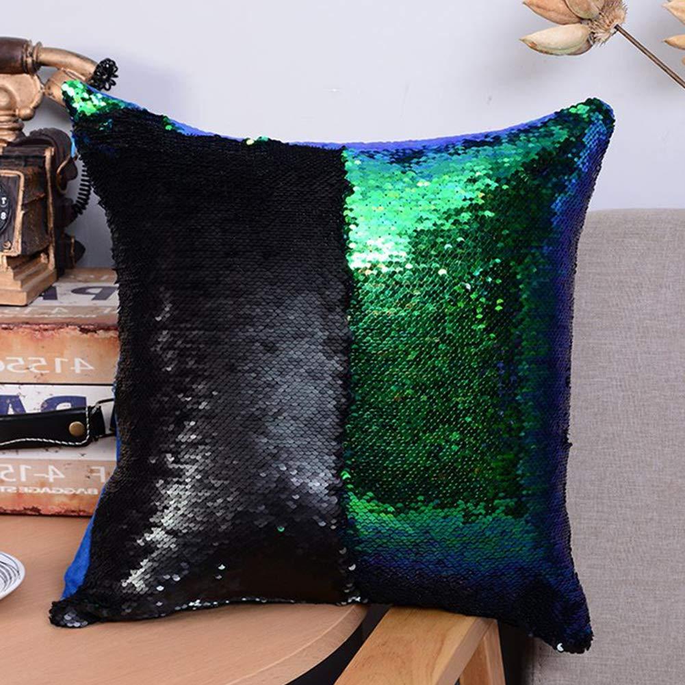 lujiaoshout Funda de Almohada Throw Pillow Creativa Lentejuela Sirena Coj/ín Funda de Almohada de Color Mixto Throw Pillow para la decoraci/ón del hogar Azul Pavo Real