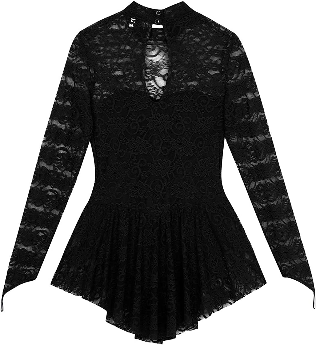 dPois Womens Adult Long Sleeve Lace Leotard Ballet Dance Gymnastics Ice Skating Dress