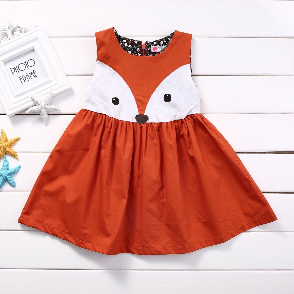 Viclearshop Baby Girls Toddler Kids Fox Dress Party Wedding Tutu Dresses Princess