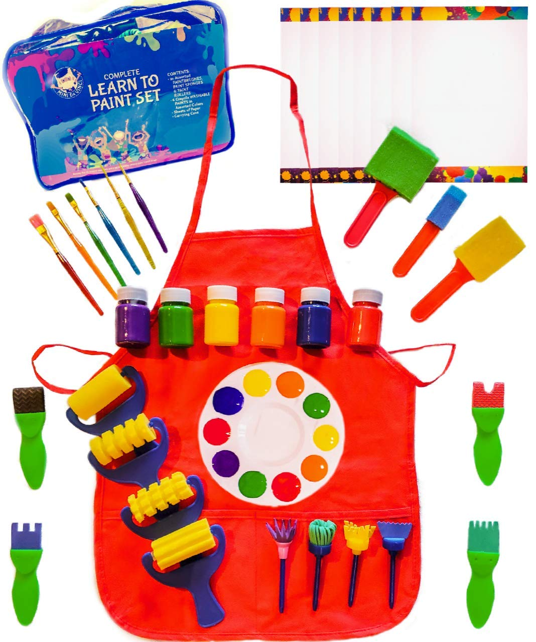 Little Kids Art Set - Kids Art Supplies - 48 Piece Set Paint Brushes, Bonus Paint Smock, Finger Paints, Palette, Foam Texture Brushes, Paper - Nontoxic Washable Paint - Learn to Paint Set by Complete Learn to Paint Set