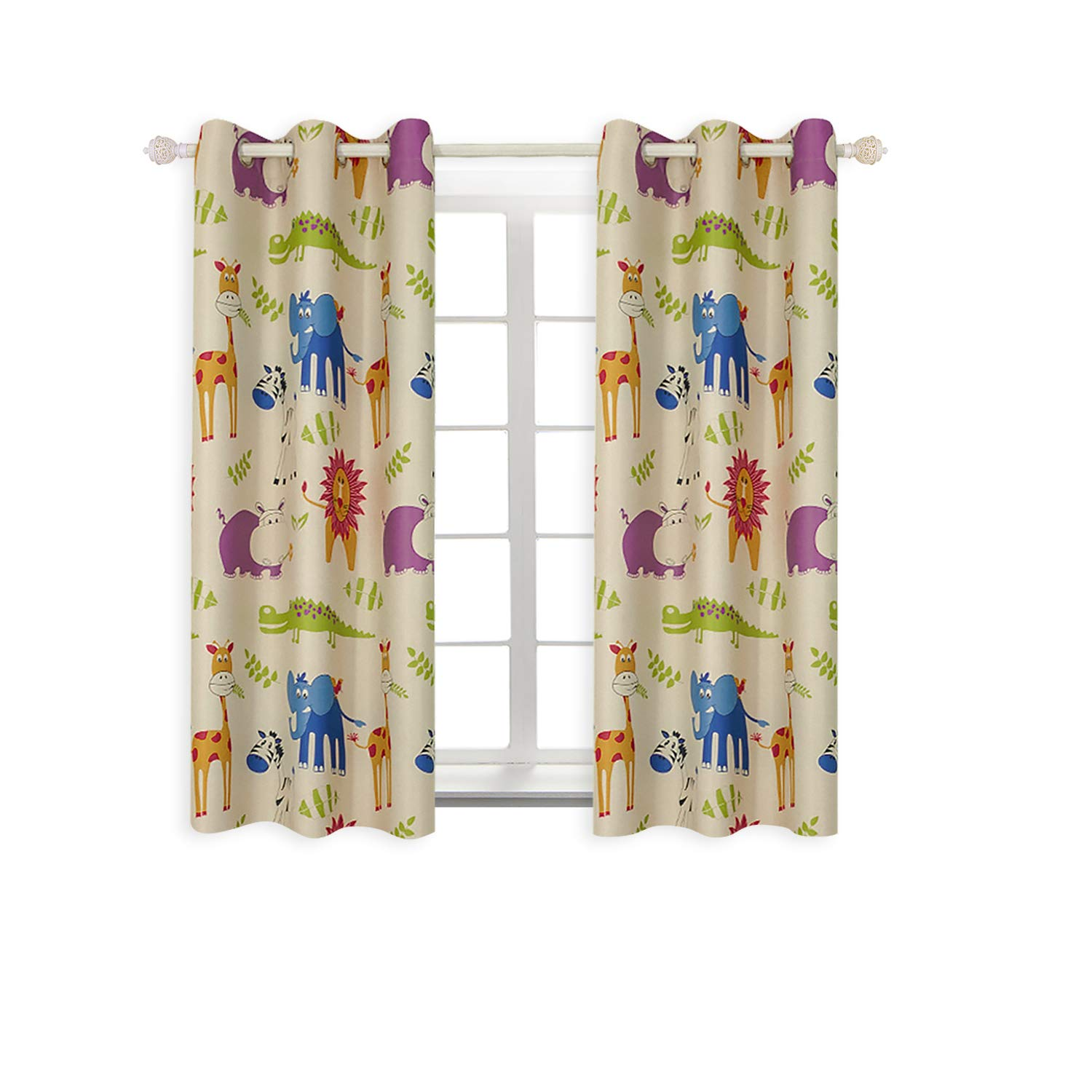 BGment Animal Zoo Kids Curtains for Bedroom Darkening, Classical Grommets, 2Panels (42'' Wx63 L, Curtains)