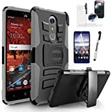 ZTE ZMax One Case, Phonelicious Zte Z719DL Xtreme Armor [Heavy Duty] Hybrid Dual Layer Kickstand Belt [Holster Clip] Combo Rugged Tuff+ Screen Protector & Stylus (GRAY XC)