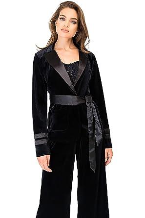 Standards   Practices Modern Women s Black Velvet Wrap Satin Belt Smoking  Jacket ... 07f468f7aa