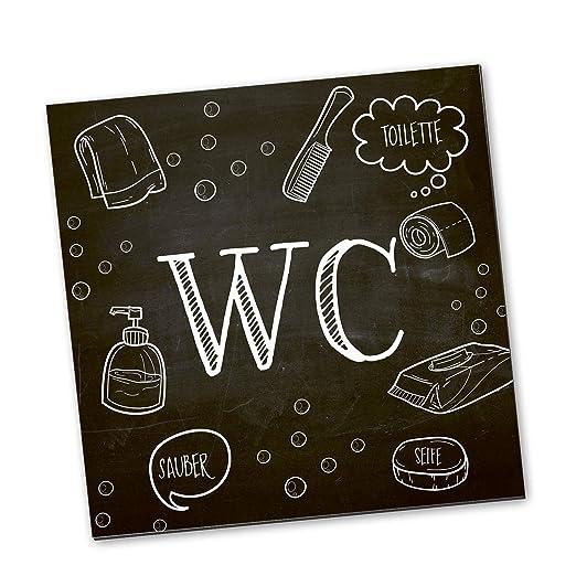 Logbuch-Verlag - Cartel para Puerta de baño o baño (14 x 14 cm, con Puntos Adhesivos para Mujer y Hombre, Neutral), diseño con Texto Klo, Color Blanco ...