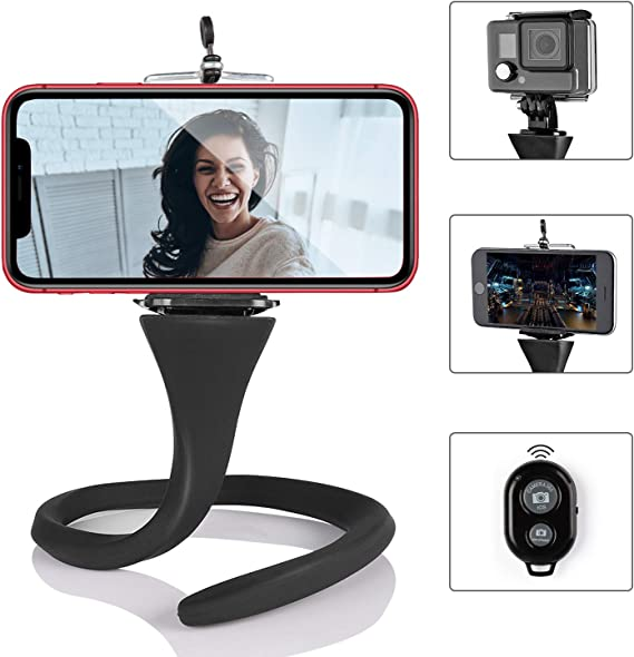 """Android Phone Black Compatible with iOS Phone 16/"""" Flexible Tripod Bluetooth Remote Control and Cell Phone Holder Clip ASSENIO Phone Tripod Sports Camera GoPro"""