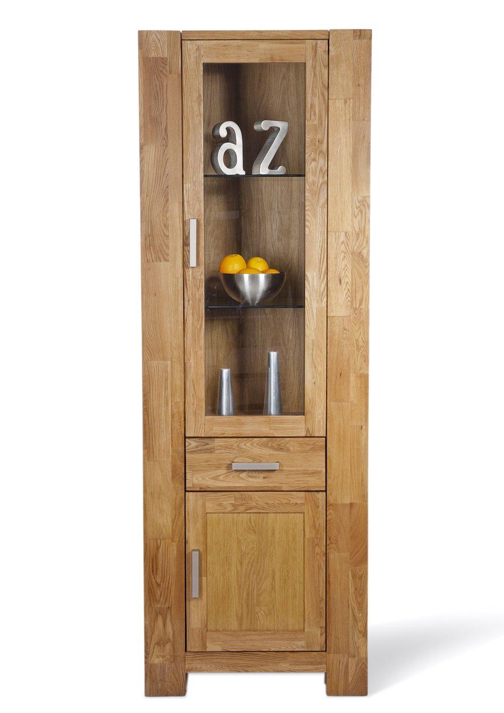 SAM® Schmale teilamssive Wildeiche Glas Vitrine Zeus 1606-01 Rechtsanschlag Vitrine 190 x 65 cm Glasvitrine mit Glaseinsatz hinter der Glastür eine Schubladen und eine Holztür mit Holz Einlageboden bereits montiert Auslieferung durch Spedition
