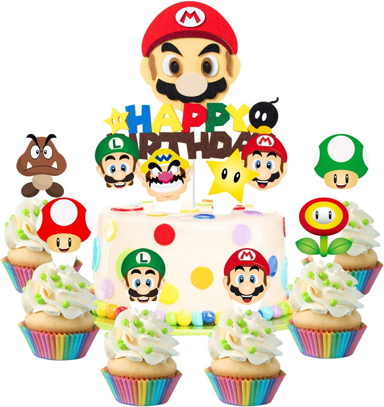 49Pcs Mario Brothers Cake Toppers, Wario Themed Party Cake Decorations, Happy Birthday Cake Topper and Cardstock, Luigi Cupcake Toppers, Kids Birthday Decoration Baby Shower Party Supplies