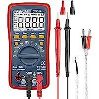 AstroAI Multímetro Digital Profesional Rango Automático 4000 Cuentas, Polímetro Digital True RMS, Temperatura, Frecuencia, Medidor de Corriente Voltaje AC/DC, Resistencia, Continua, Diodos