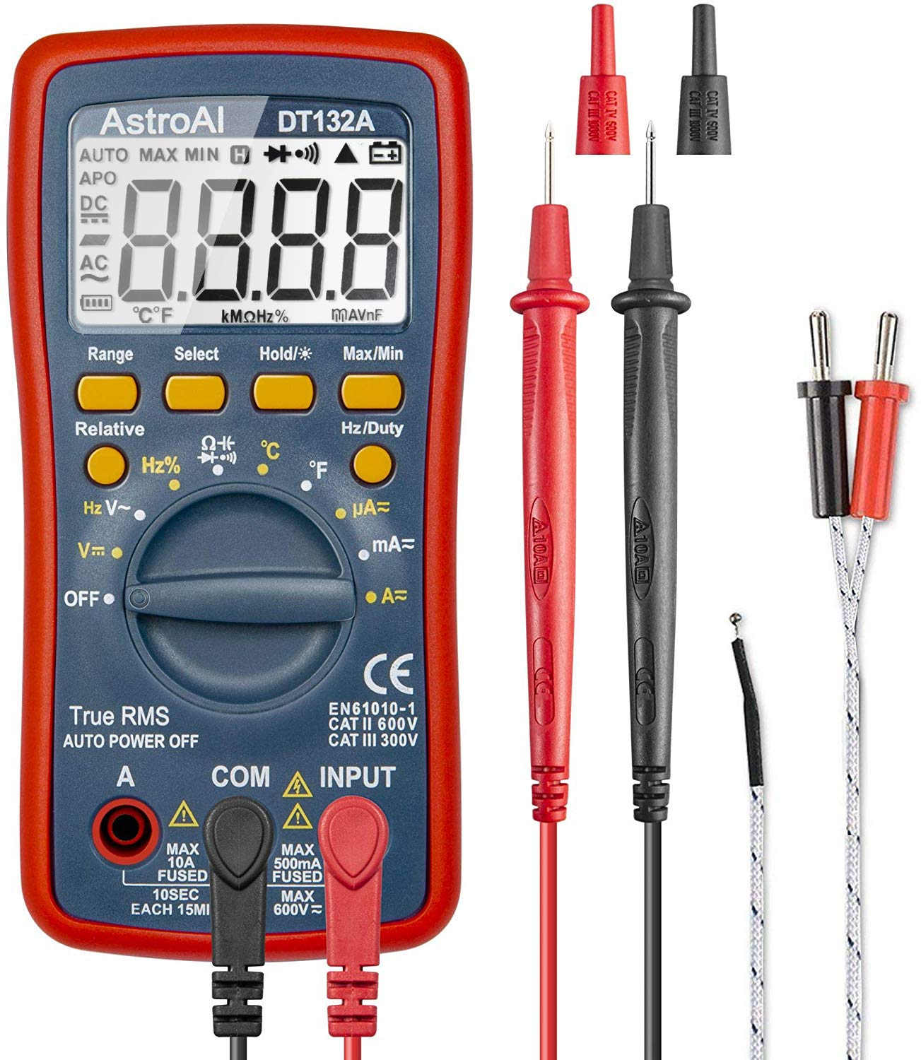 AstroAI Digital Multimeter, TRMS 4000 Counts Volt Meter Manual and Auto Ranging; Measures Voltage Tester, Current, Resistance, Continuity, Frequency; Tests Diodes, Temperature, Red by AstroAI