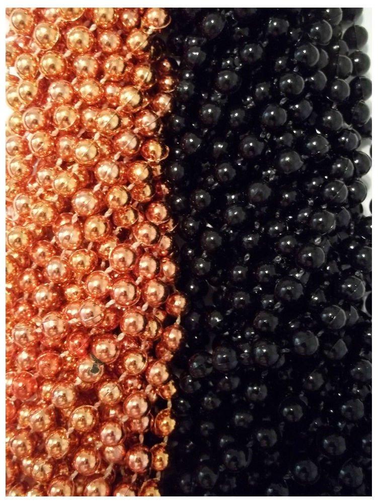 48 Orange Black Round Mardi Gras Beads Party Favors Halloween Necklaces 4 Dozen