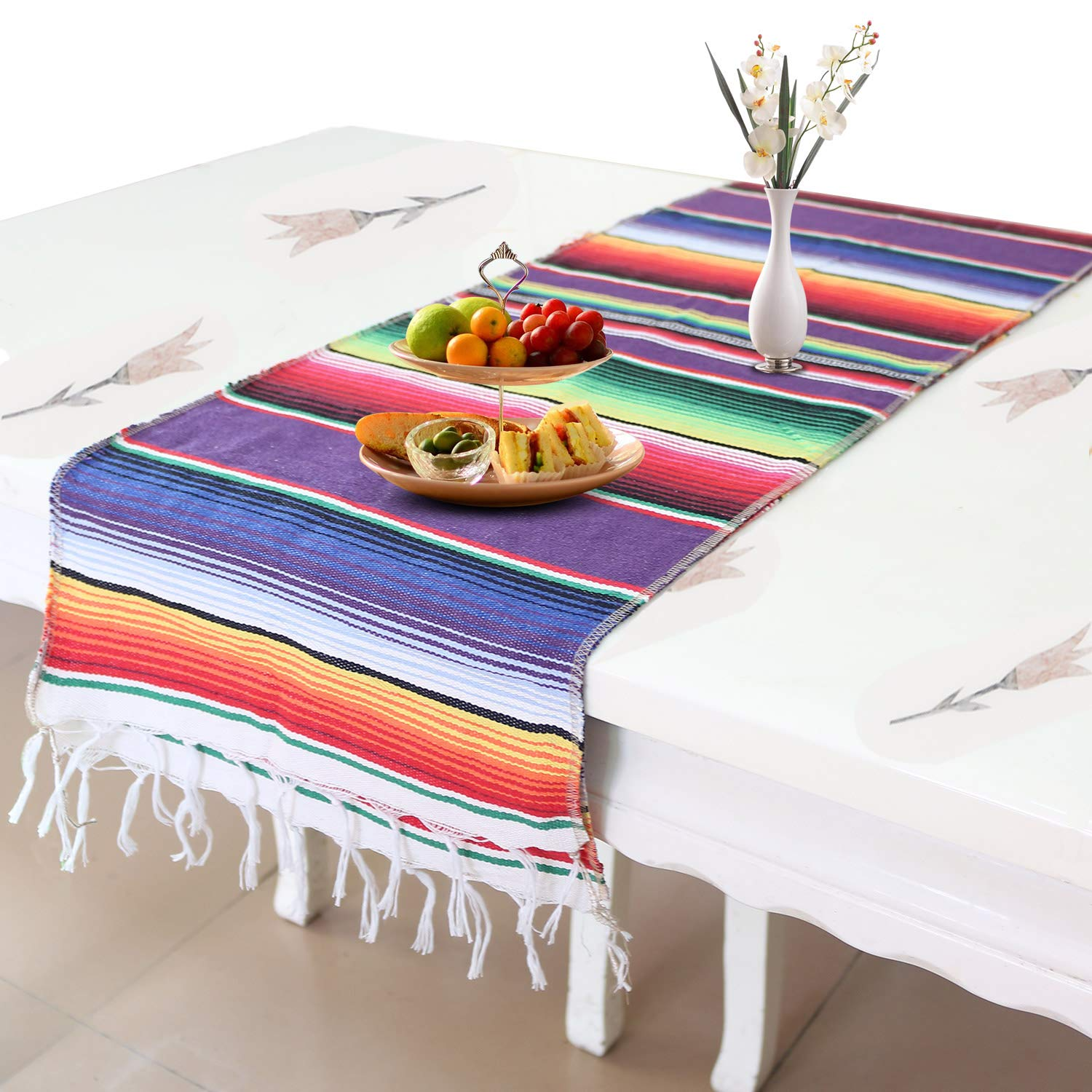 Auranso Mexican Table Runner 14 x 84 inch Cotton Striped Weave Serape Table Runner Rainbow Mexican Blanket for Fiesta Party Decorations