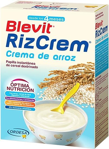 Blevit Rizcrem, 1 unidad 300 gr. Papilla elaborada a partir de crema de arroz con bifidobacterias y lactobacilos.: Amazon.es: Alimentación y bebidas