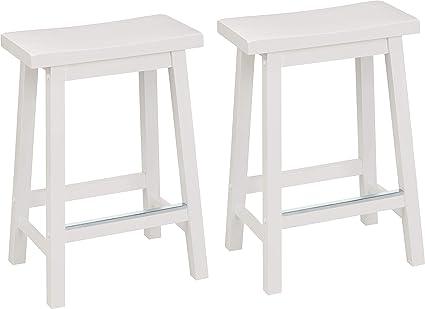 Enjoyable Amazon Com Amazonbasics Classic Solid Wood Saddle Seat Ncnpc Chair Design For Home Ncnpcorg
